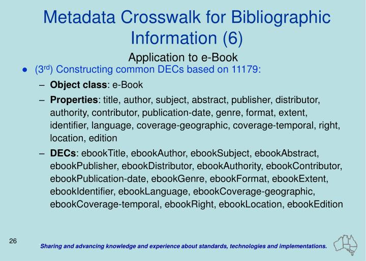 Metadata Crosswalk for Bibliographic Information (6)
