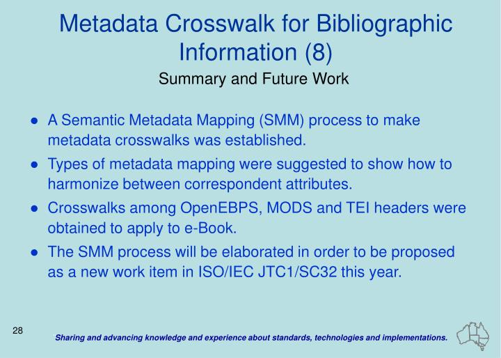 Metadata Crosswalk for Bibliographic Information (8)