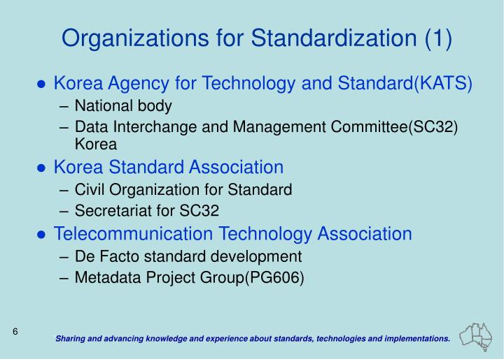 Organizations for Standardization (1)