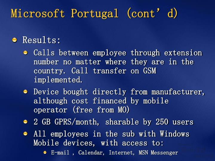 Microsoft Portugal (cont'd)