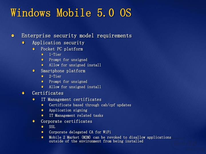 Windows Mobile 5.0 OS
