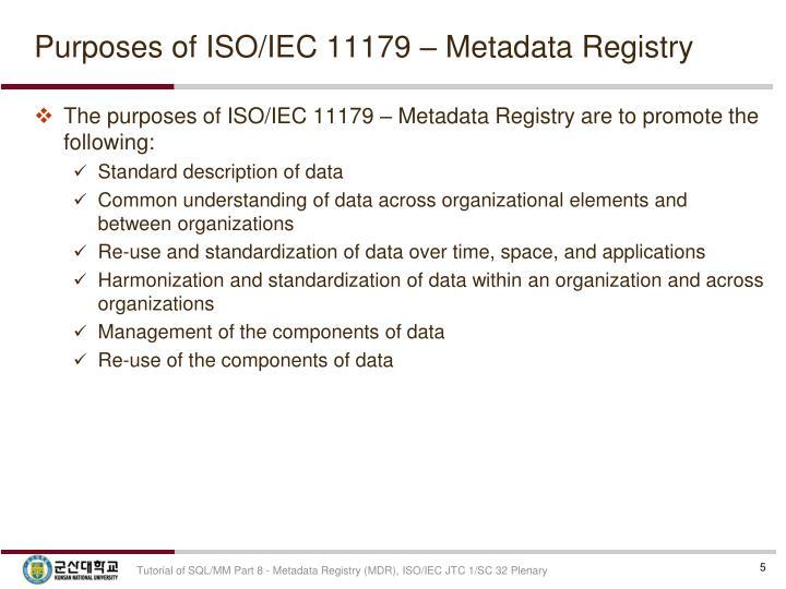 Purposes of ISO/IEC 11179 – Metadata Registry