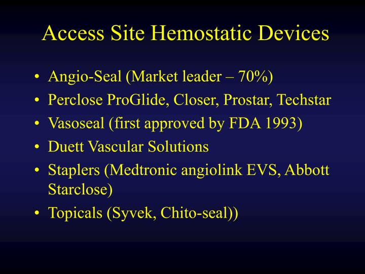 Access Site Hemostatic Devices