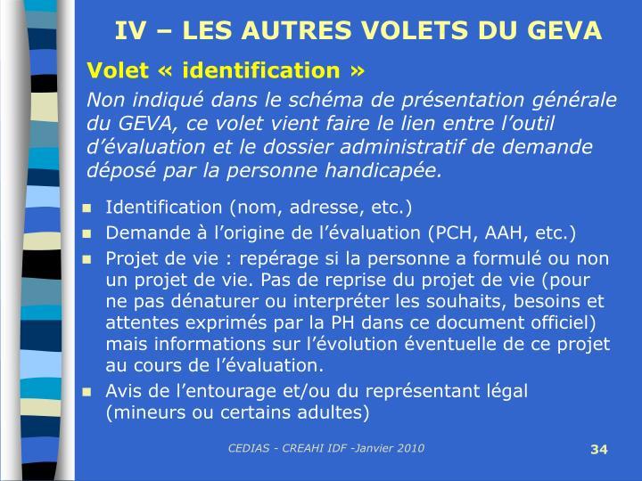 IV – LES AUTRES VOLETS DU GEVA