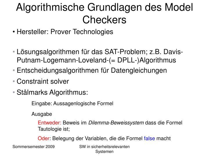 Algorithmische Grundlagen des Model Checkers