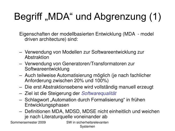 """Begriff """"MDA"""" und Abgrenzung (1)"""
