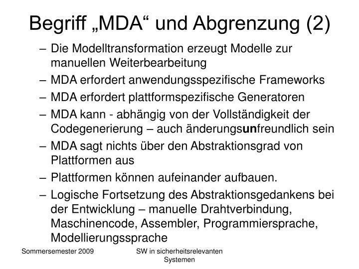 """Begriff """"MDA"""" und Abgrenzung (2)"""