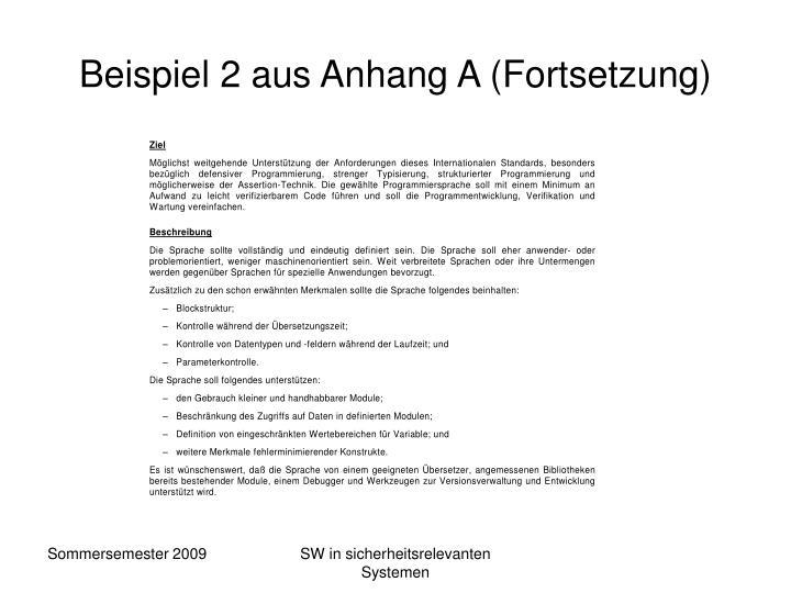 Beispiel 2 aus Anhang A (Fortsetzung)