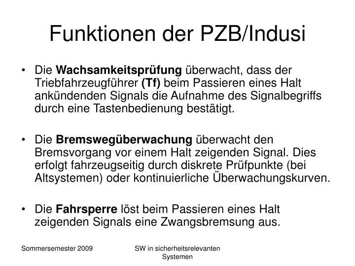 Funktionen der PZB/Indusi