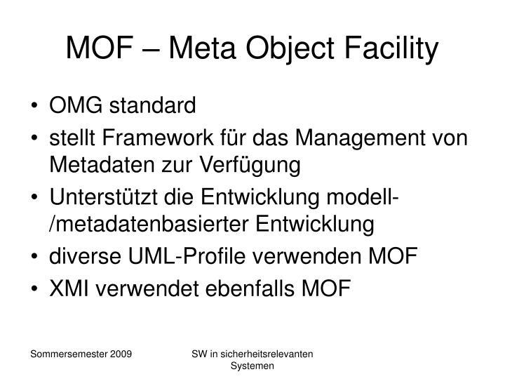 MOF – Meta Object Facility