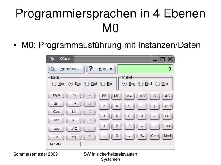 Programmiersprachen in 4 Ebenen M0
