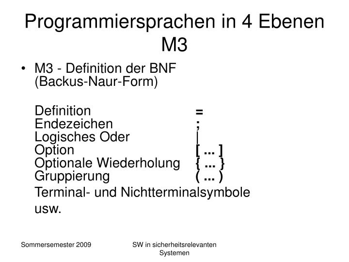 Programmiersprachen in 4 Ebenen M3