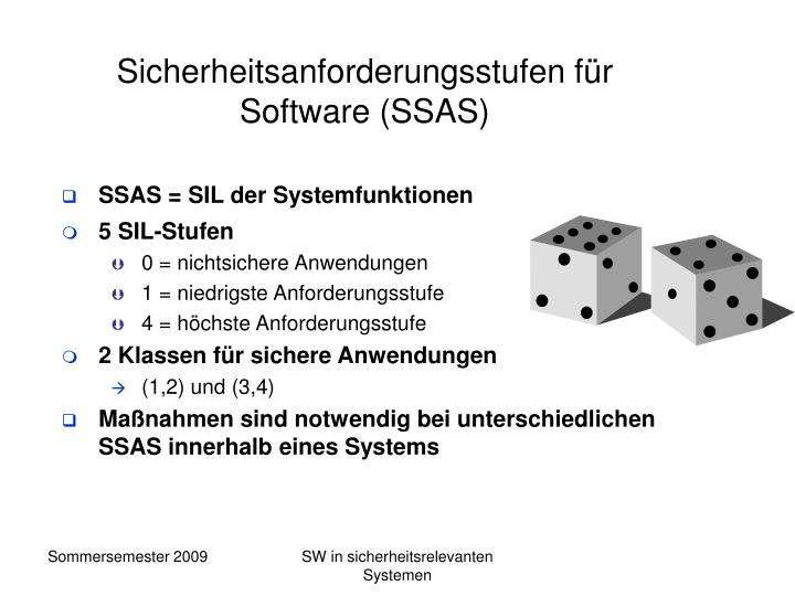 Sicherheitsanforderungsstufen für Software (SSAS)