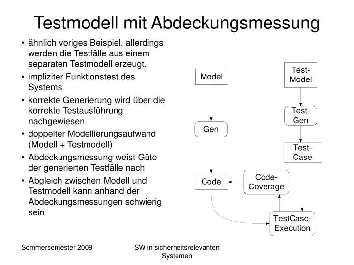 Testmodell mit Abdeckungsmessung