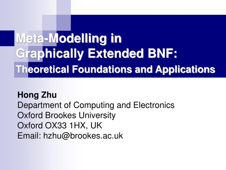 meta modelling in graphically extended bnf theoretical foundations and applications n.