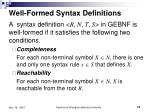 well formed syntax definitions