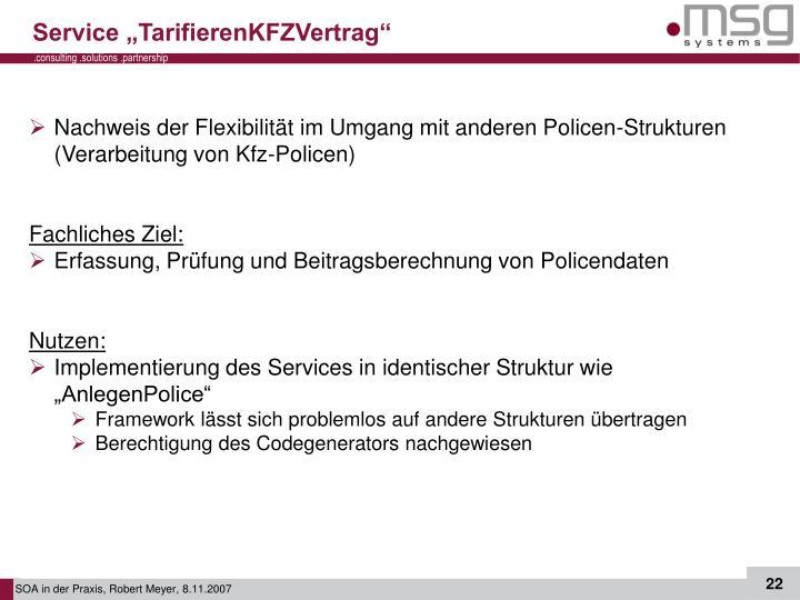 "Service ""TarifierenKFZVertrag"""