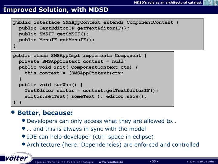 Improved Solution, with MDSD