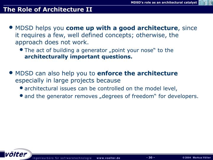 The Role of Architecture II
