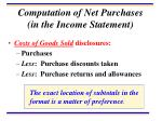 computation of net purchases in the income statement