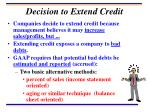 decision to extend credit