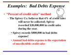 examples bad debts expense