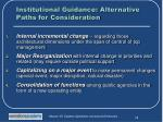 institutional guidance alternative paths for consideration