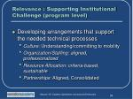 relevance supporting institutional challenge program level