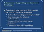 relevance supporting institutional challenge