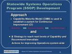 statewide systems operations program ssop development