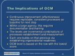 the implications of ocm