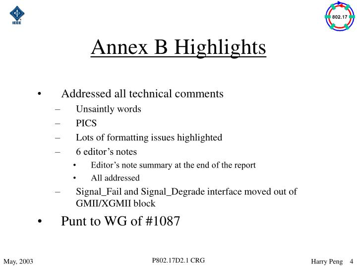 Annex B Highlights