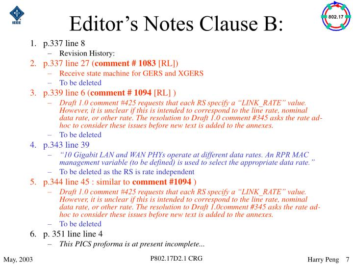Editor's Notes Clause B: