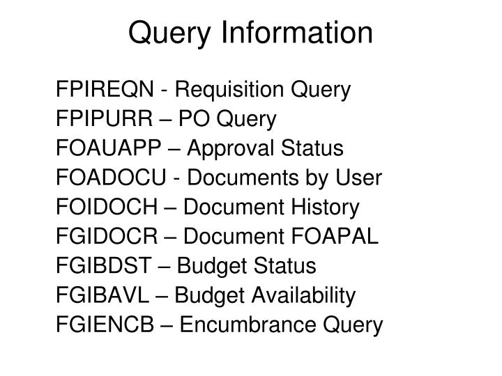 Query Information