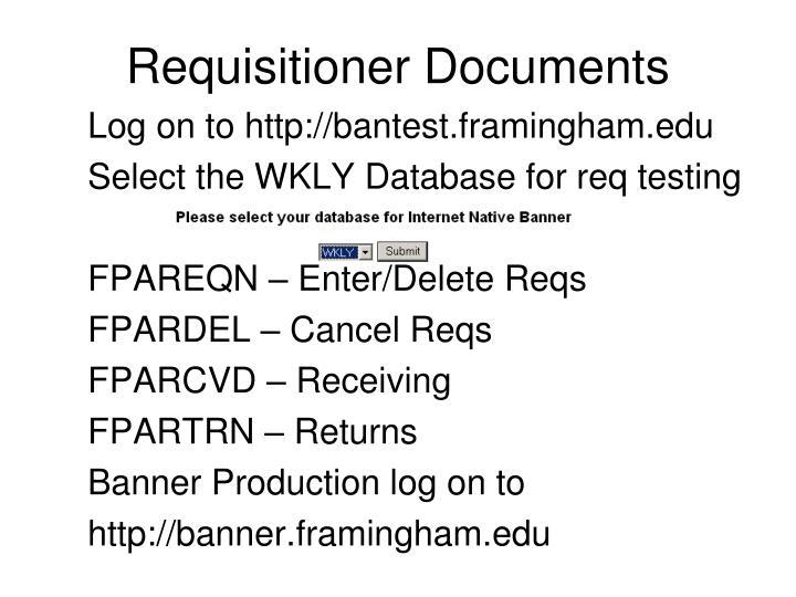 Requisitioner Documents