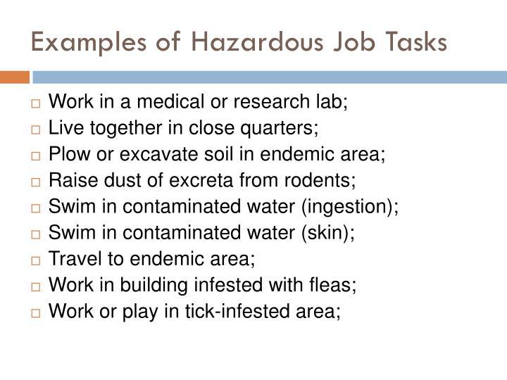 Examples of Hazardous Job Tasks