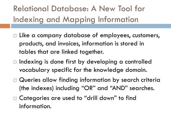 Relational Database: A New Tool for Indexing and Mapping Information