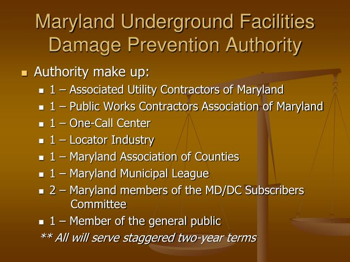 Maryland Underground Facilities Damage Prevention Authority