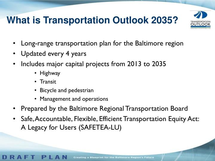 What is transportation outlook 2035