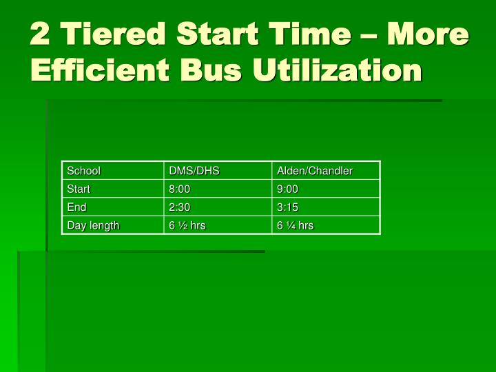 2 Tiered Start Time – More Efficient Bus Utilization