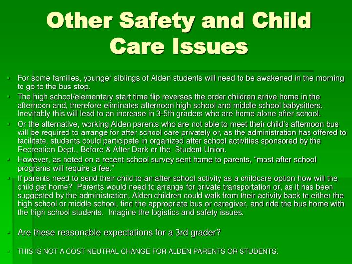 Other Safety and Child Care Issues