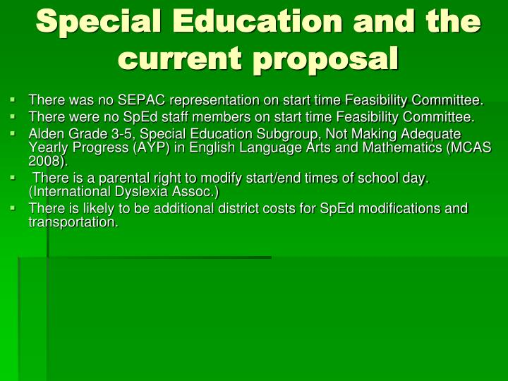 Special Education and the current proposal