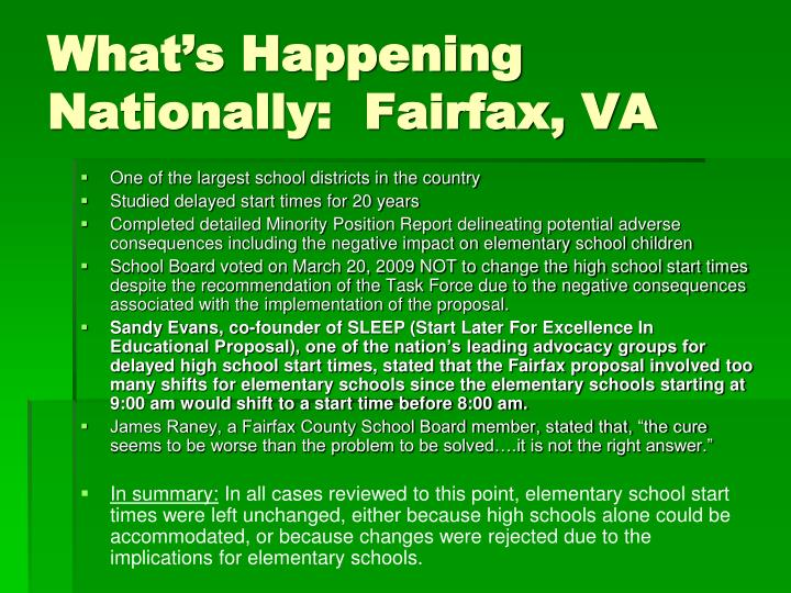What's Happening Nationally:  Fairfax, VA