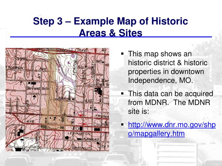 Step 3 – Example Map of Historic Areas & Sites