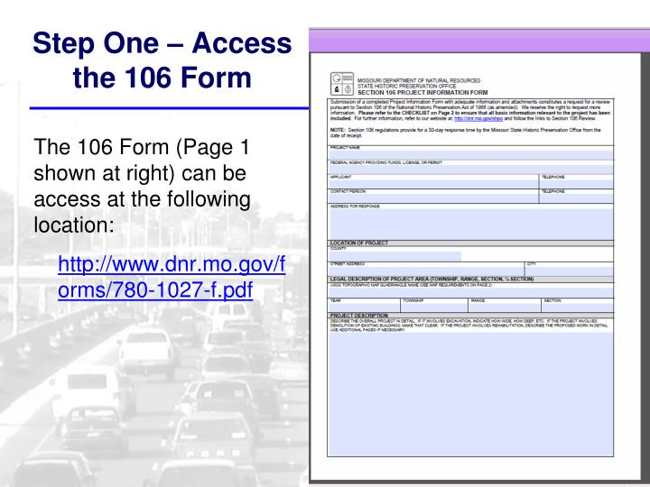 Step One – Access the 106 Form