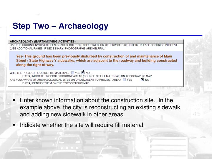 Step Two – Archaeology