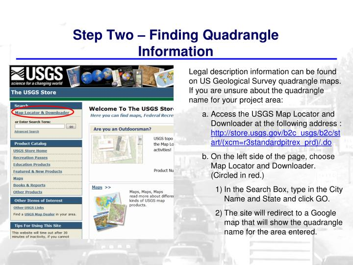 Step Two – Finding Quadrangle Information