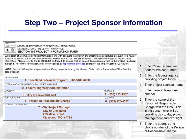 Step Two – Project Sponsor Information