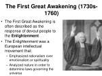 the first great awakening 1730s 1760