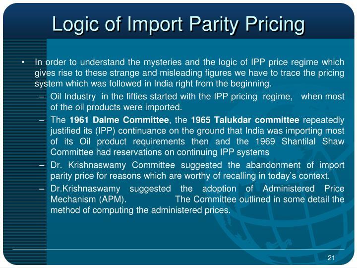 Logic of Import Parity Pricing